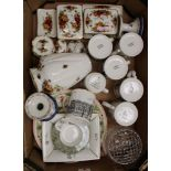 A mixed collection of ceramic items: Royal Albert Old Country Roses temple jar, trinket boxes,