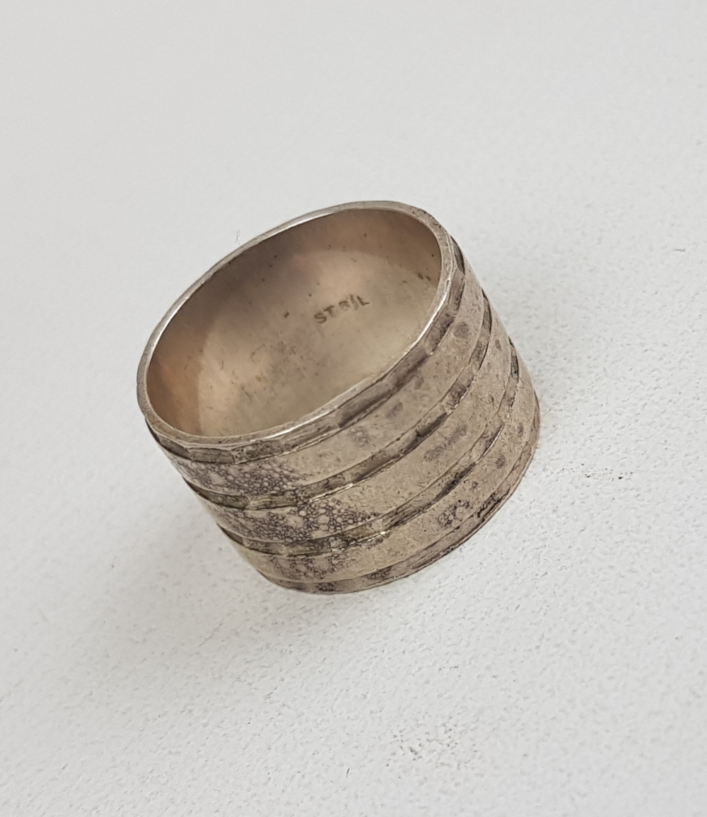 Silver solid thick band ring, size N, 6.2g: