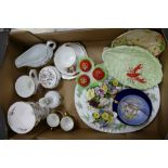 A mixed collection of items to include: Carltonware, Aynsley & similar floral decorated items