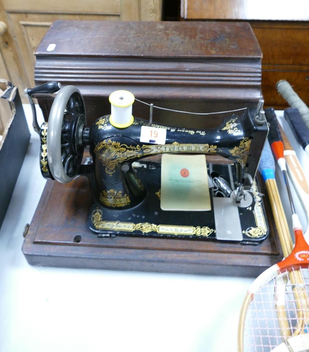 Singer Hand Crank Cased Sewing Machine: