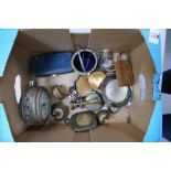 A mixed collection of items to include: Clocks, Tobacco tins, cigarette cases, silver plated