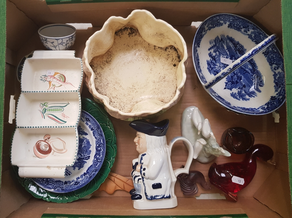 A mixed collection of ceramic items: Wedgwood blue and white basket, Sylvac planter, Nao geese