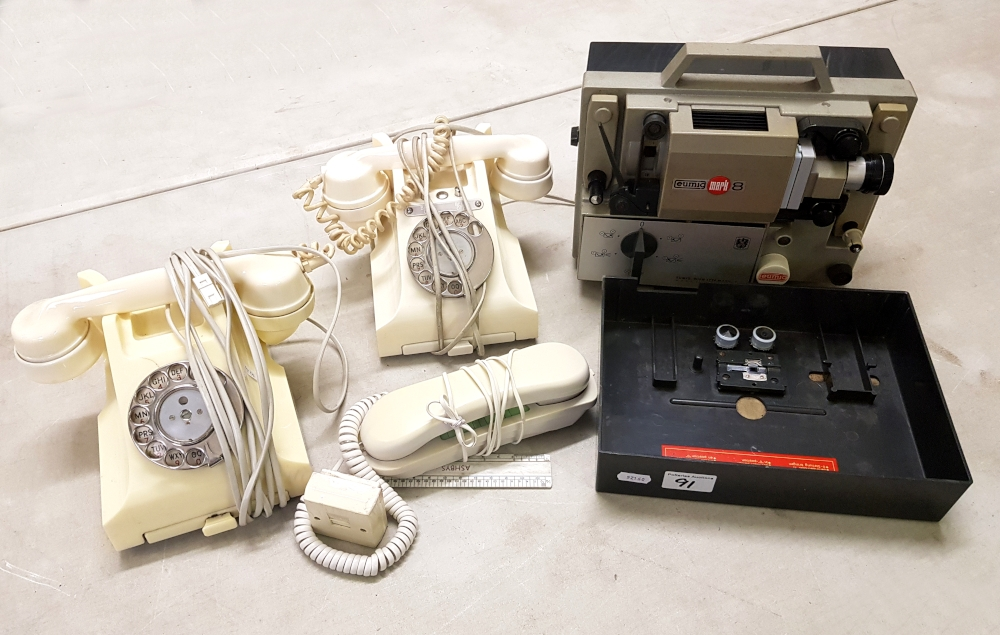 2 x vintage ivory coloured bakelite telephones: together with an Eumig Mk 8 projector etc.