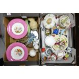 A mixed collection of items to include: hand decorated comports, toby jugs, continental figures,