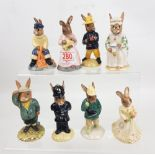Royal Doulton Bunnykins figures to include: Bridesmaid DB173, Boy Skater DB152, Bogey DB32, Mother &