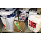 20 Litres of grass marking paint: together with marine oil, grey paint etc.