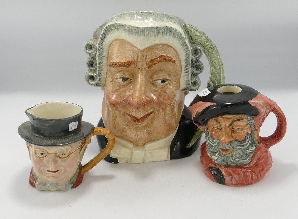Royal Douton Character jugs to include: Large The Lawyer D6498, small Falstaff D6385 & Beswick