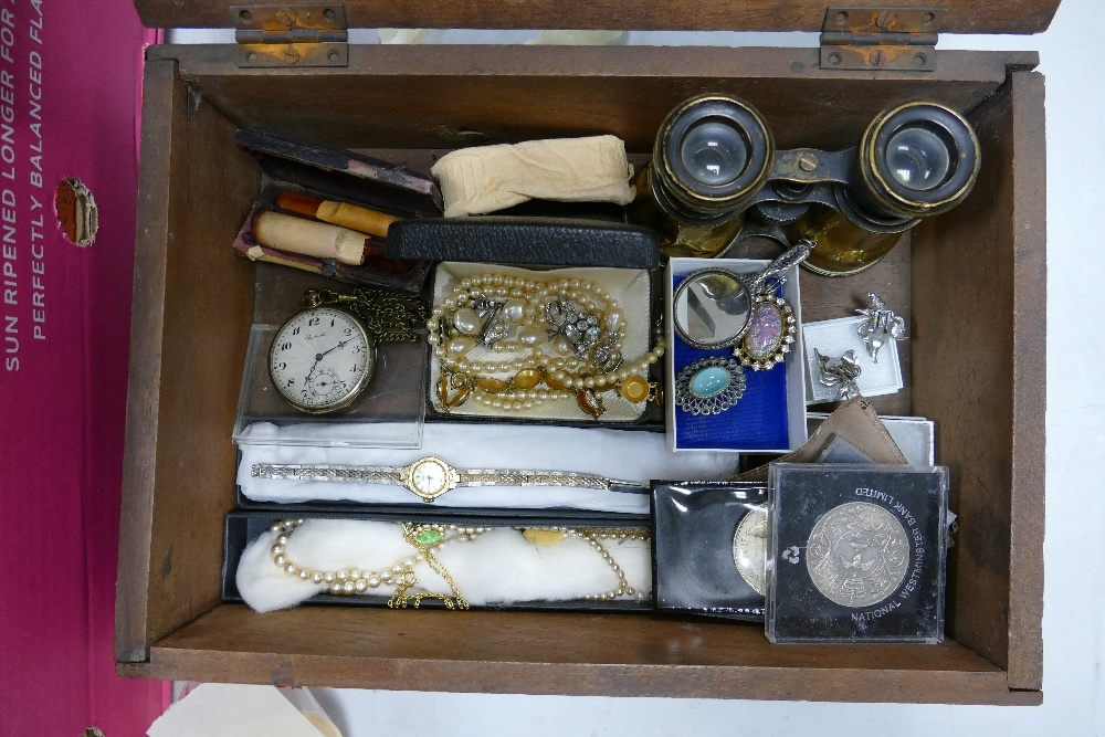 A mixed collection of items to include: Costume jewelry , miniature silver mirror, pocket watch,