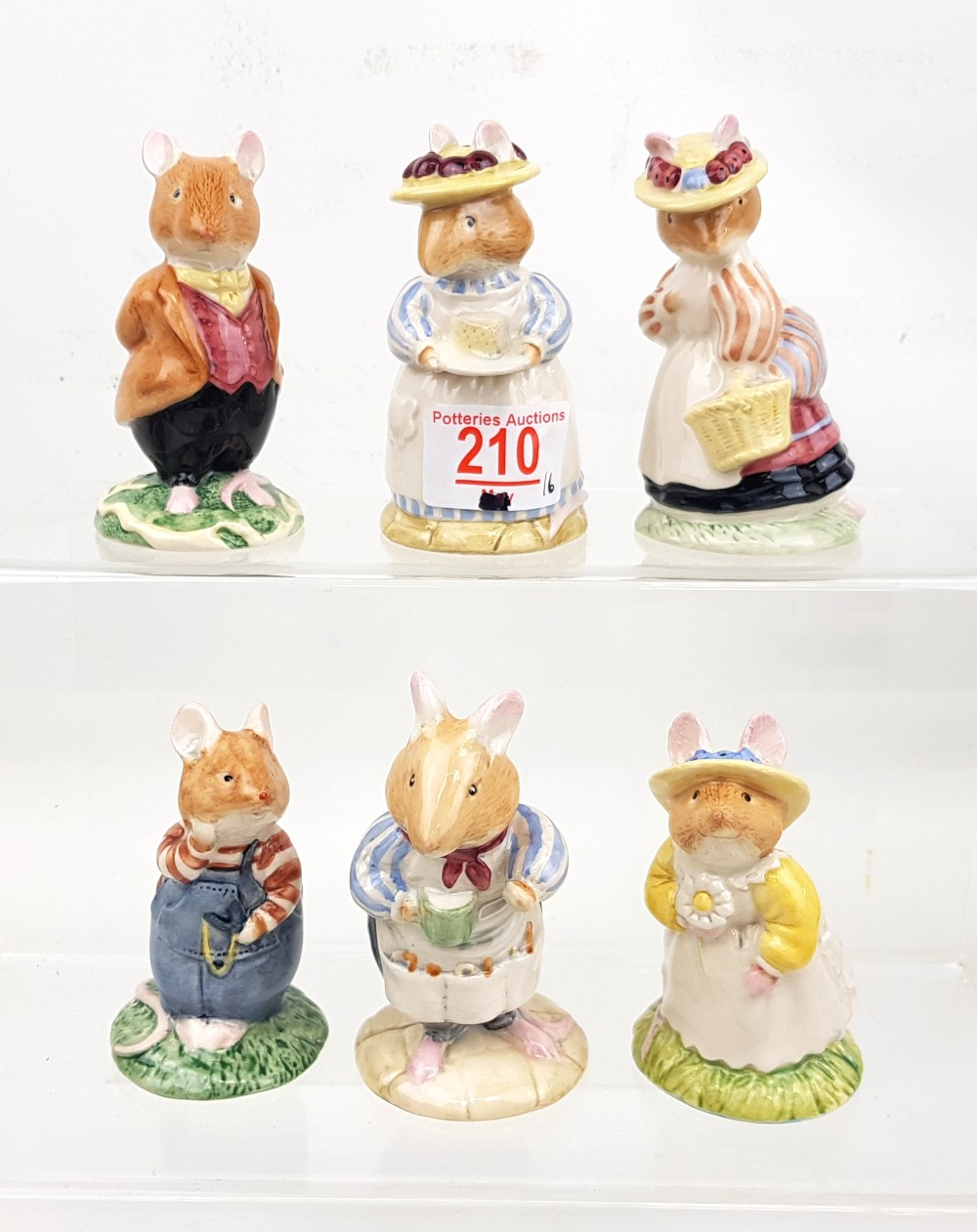 Royal Doulton Brambly Hedge Figures: Primrose Woodmouse, Wilfred Toadflax, Lady Woodmouse, Lord