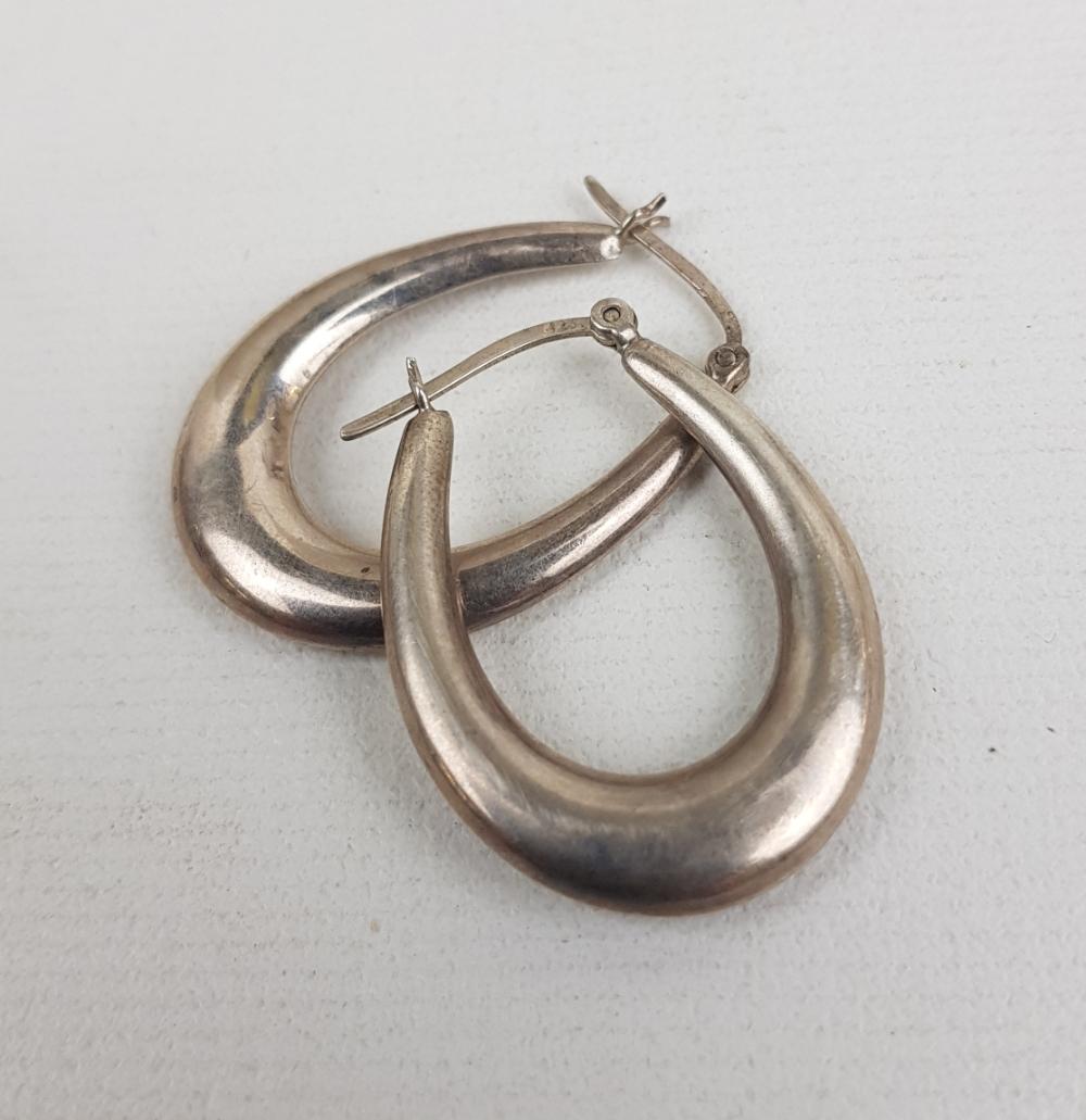 Pair of silver hoop earrings, 5.25g: