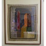 A framed Islamic tapestry : 100cm x 79cm