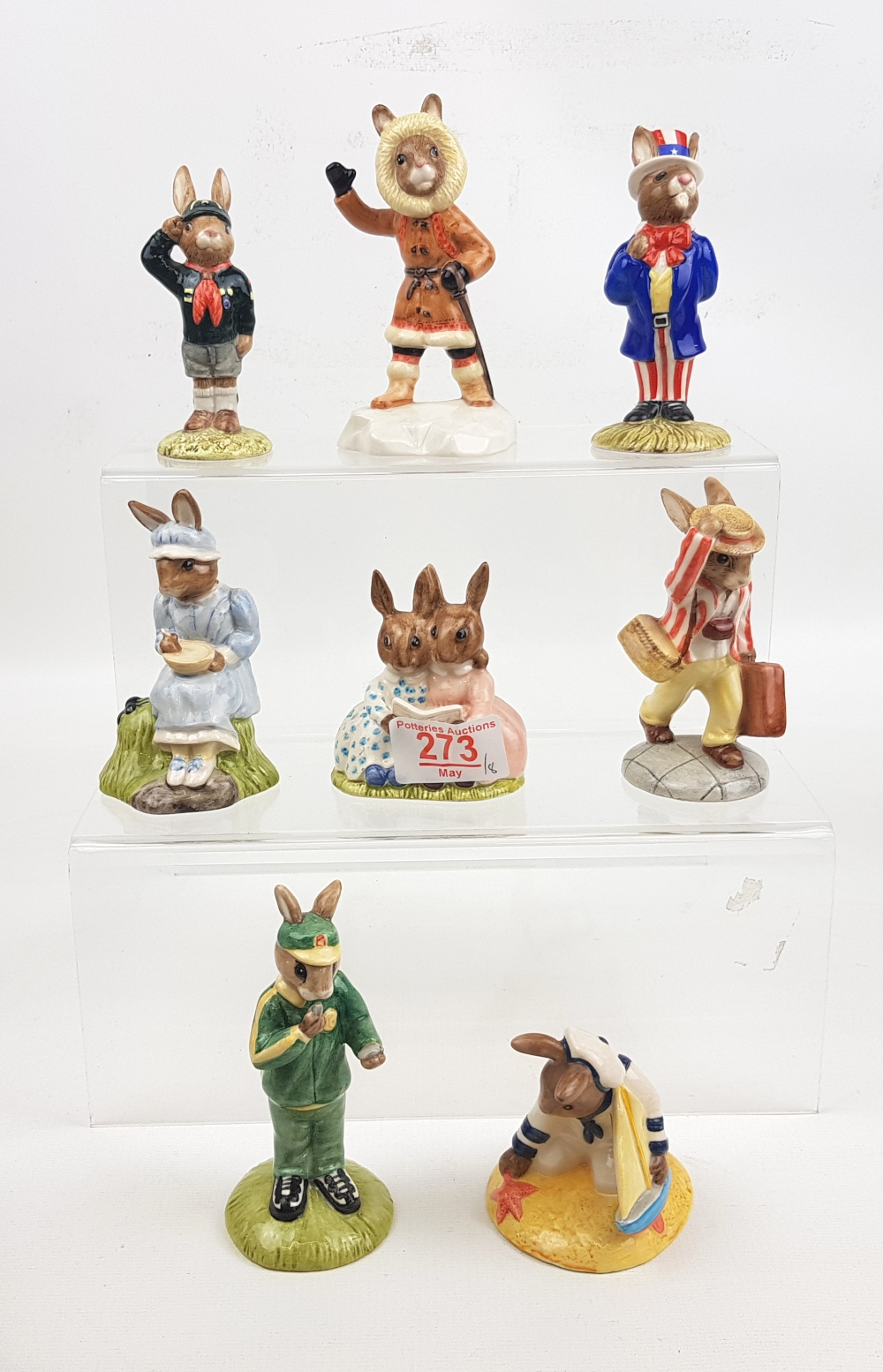 Boxed Royal Doulton Bunnykins figures to include: Little Miss Moffett DB240, Father DB154, Uncle Sam