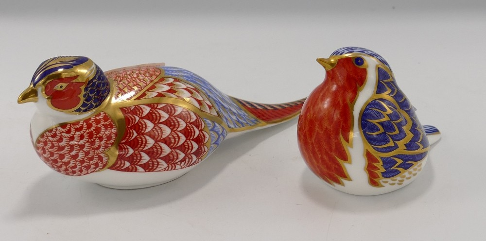 Royal Crown Derby Paperweights: Pheasant (no stopper) & Robin (gold stopper)(2)