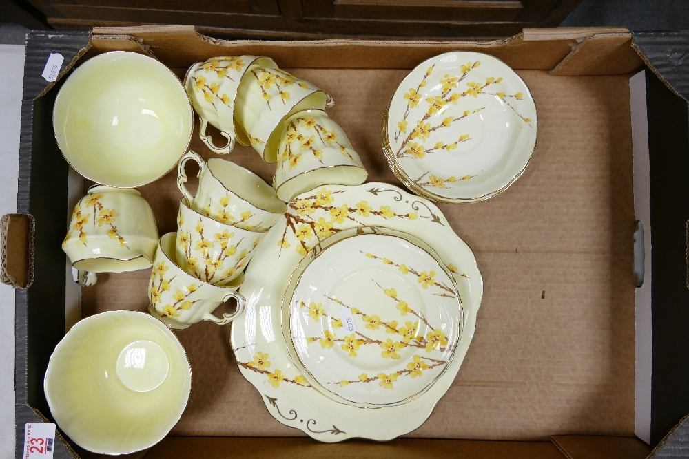 Crown Staffordshire Floral Decorated Tea Set: