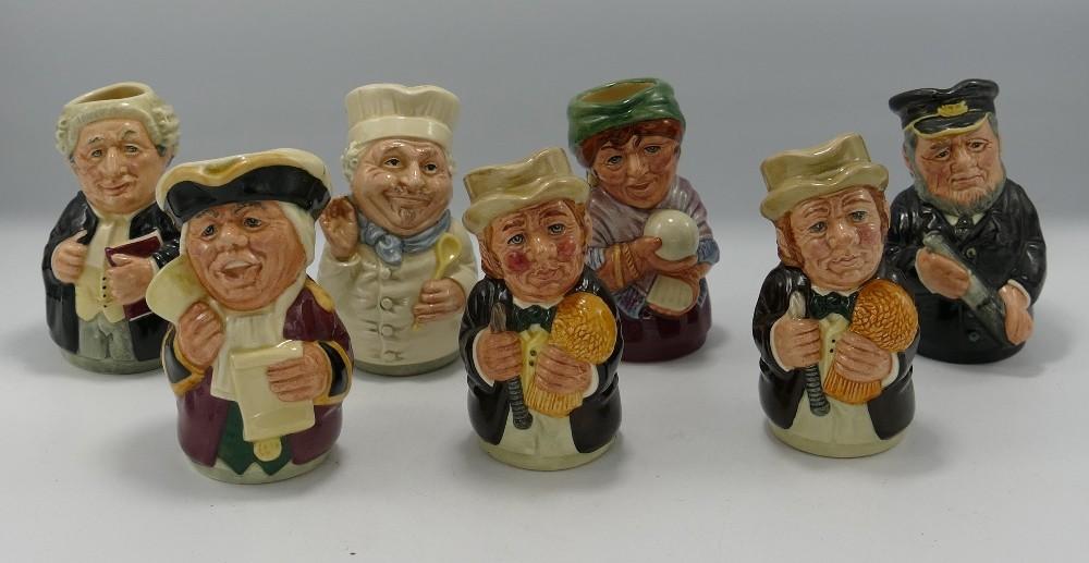 Royal Doulton Doultonville toby jugs: Mr Tonsil, Monsieur Chasseur, Mr Furrow x 2, Madame Crystal,