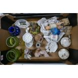 A mixed collection of items to include: Glass ware, Continental figures, damaged piano babies etc