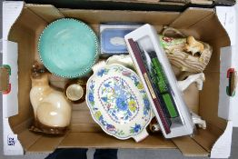 A mixed collection of items to include: Melba ware animals, Wedgwood pin tray, damaged Charlotte