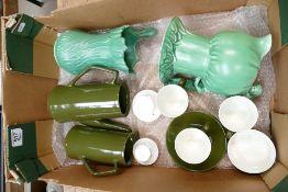 Tray lot inc Beswick coffee ware, Sylvac jugs etc: