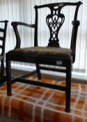 18th Century Mahogany Chippendale Style Armchair: