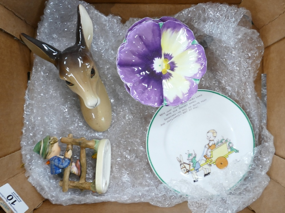 Shelley Hummel and Midwinter: 4 x unusual Shelley dishes & Mabel Lucy Atwell plate, Hummel boy
