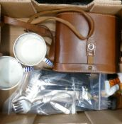 Tray lot including Oigee Binoculars 8x40 vagant: also 2 x 19th Staffordshire mugs a/f, paper knives,