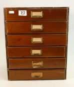 Six drawer part wooden collectors specimen chest of drawers with fossils and minerals: Four of the 6