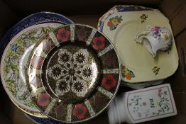 A mixed collection of ceramic items: platters, wall plates, Royal Crown Derby jug etc (1 tray).