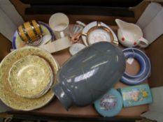 A collection of mixed ceramic items: Wade barrel mug, Limoges ashtray, Carlton Ware circular posy