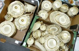 A large collection of Johnson Bros Victorian Patterned Tea & Dinnerware including: platters,