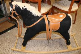 A vintage free-standing rocking horse: max height 77cm.