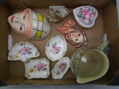 A mixed collection of ceramic items: Royal Crown Derby 'Derby Posies' pin dishes, Crown Devon face