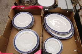 A collection of Spode Dauphin Platinum dinner ware: 18 dinner plates, 3 side plates, 2 small and 1