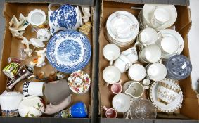 A mixed collection of items to include: Ridgway & similar Blue & White items, 19th Century floral