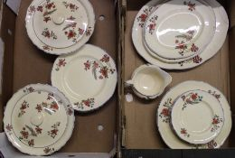 A collection of Royal Venton Ware dinner ware items: platters, dinner plates, salad and side plates,