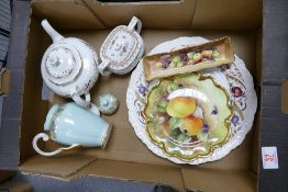 A mixed collection of item to include: Wedgwood Cornflower Patterned Platter, Hand decorated