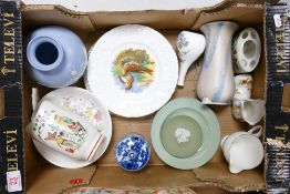 A mixed collection of items to include: Crown Ducal, Wedgwood & spode Vases, Damaged Flaxman jug etc