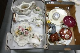 A mixed collection of items to include: Capo di monte Emboosed floral decorates items, Face pots,