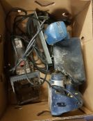 A mixed power tools: Wickes biscuit jointer, Bosch circular saw & a 710W belt sander.