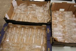 A large collection of Royal Doulton crystal glassware: including Prosecco glasses, brandy glasses,