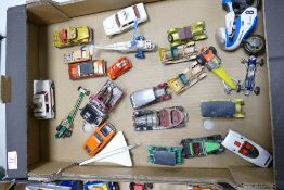 A collection of vintage Corgi, Matchbox, Whizzwheels toy cars & vehicles: