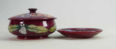 Moorcroft Pansy on red ground powder dish and coaster (2):