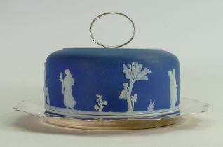 Large unmarked Jasperware Stilton cheese dish on silver plated dish: Height 14cm.