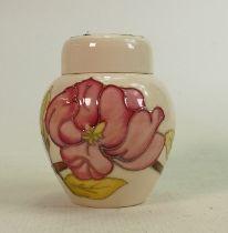 Moorcroft pink magnolia on cream small ginger jar: Height 11cm