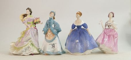 Four Figures - Royal Doulton Nina HN2347, Ballad Seller HN2266, Summertime HN3478 & Royal