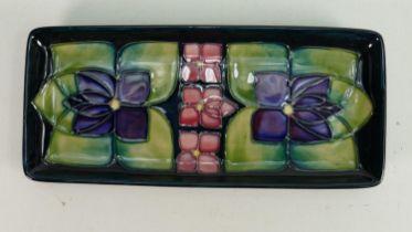 Moorcroft Violets patterned oblong tray: Length 20cm.