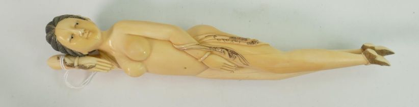 Ivory 19th century Chinese doctors lady figure: Measuring 23cm long, well carved and unsigned. These