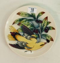 Moorcroft Golden Oriole Plate by Philip Gibson in Trial Colourway, dated 31-10-02.