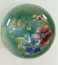 Walter Moorcroft Clematis shallow footed bowl: Diameter 18cm.