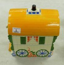 Old Romany Bone China Gypsy Caravan Vardo Biscuit Barrel: height 29cm