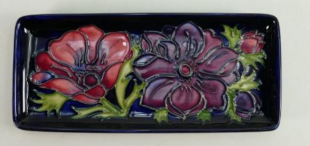 Moorcroft Clematis patterned oblong tray: Length 20cm.
